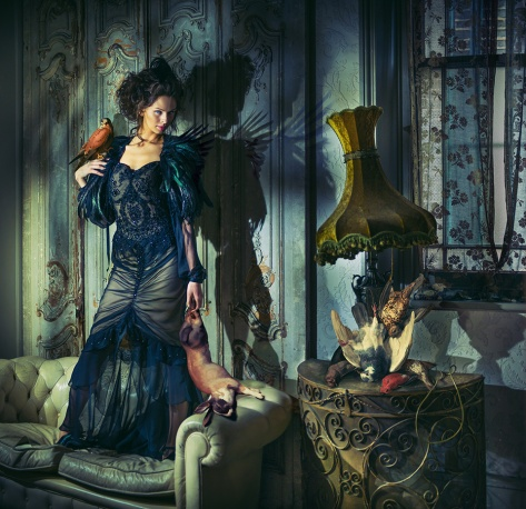 Photographer: Miss Aniela. Series: Surreal Fashion. Model: Faye Shearwood Stylist: Minna Attala. Dress: Busardi. Feather cape:National Theatre Costume Archive. Hair: Doubravka Marcinkova. Make-up: Rhiannon Chalmers. Stylist's assistant: Becky Smith. Photographer's assistant: Tim Charles Matthews.