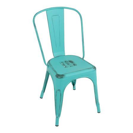 A tolix chair really does look beautiful outside.
