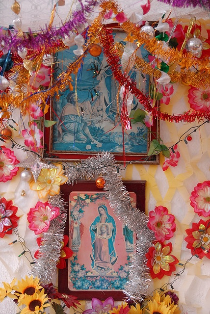 Plastic flowers and religious iconography... what's not to love. Guadalupe Altar outside the home of a fisherman on the Pacific coast of Guerrero, Mexico by Ilhuicamina.(flickr.com)