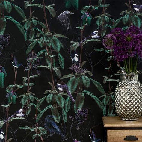 Lush, dark, wallpaper design from Witch and Watchman. http://witchandwatchman.com