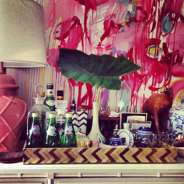 Every home should have a cocktail bar. Furbish Studio, Bar vignette, bar styling, blue and white porcelain, jamie meares flickr by jamie meares (isuwannee.com)