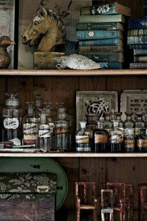 Pile shelves with curios and emulate an apothecary cabinet. (homelife.com.au)