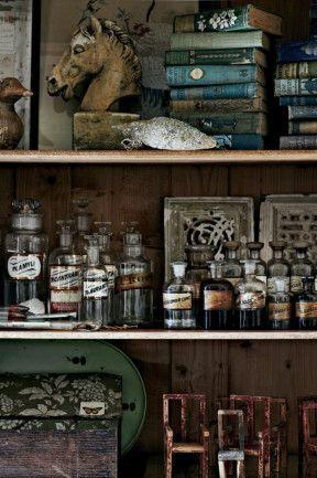 Pile shelves with curios and emulate an apothecary cabinet. (homelife.com.au)