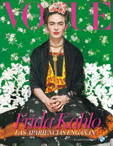 Frida gracing the cover of Vogue. (pinterest)