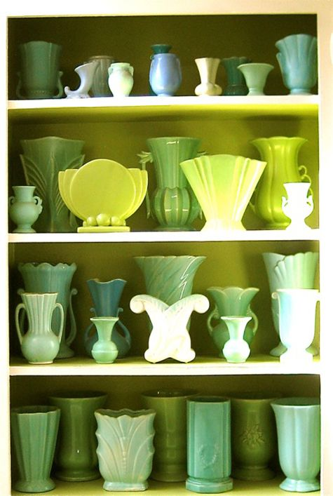 Display objects of a similar colour. Here vintage pottery vases work beautifully. (binkandboo.net)