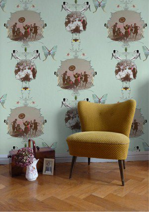 Nostalgia and whimsy combine in this charming wallpaper from Elli Popp. (http://ellipopp.co.uk)