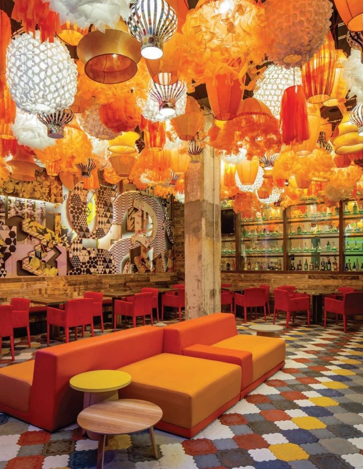 Why go for understated?! This is an amazing riot of pattern and colour, but the restricted palette means it works beautifully. Toronto-based The Design Agency designed the Generator Hostel in Barcelona, Spain. (contemporist.com)