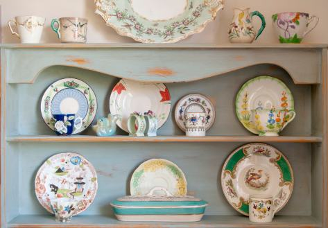 My collection of cups and saucers in one of our bathrooms. (Photo by Chris Gatcum)