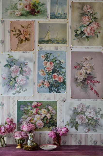 Create a wall display with pinned cuttings. (shabbychicgirls.blogspot.com)
