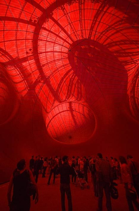 Leviathan by Anish Kapoor – a series of giant interconnected womb-like orbs in the Grand Palais, Paris. dezeen.com