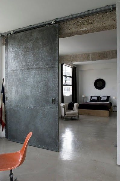 Sliding industrial door. (pinterest)